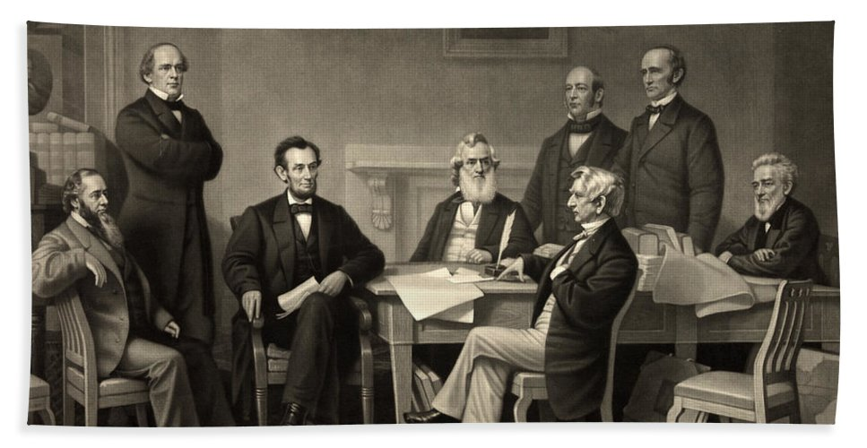 emancipation Proclamation Hand Towel featuring the photograph Abraham Lincoln At The First Reading Of The Emancipation Proclamation - July 22 1862 by International Images
