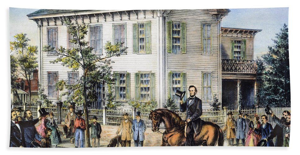 1865 Hand Towel featuring the photograph Abraham Lincolns Home by Granger