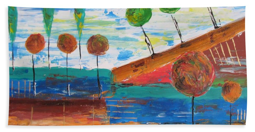Graphics Hand Towel featuring the painting Abs 0455 by Marek Lutek