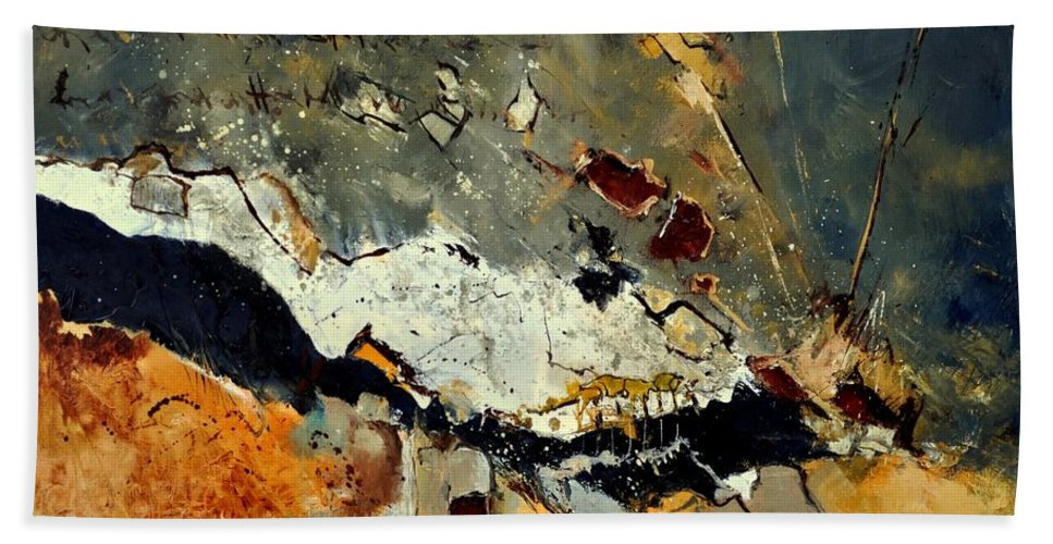 Abstract Bath Sheet featuring the painting Abstract 1811014 by Pol Ledent