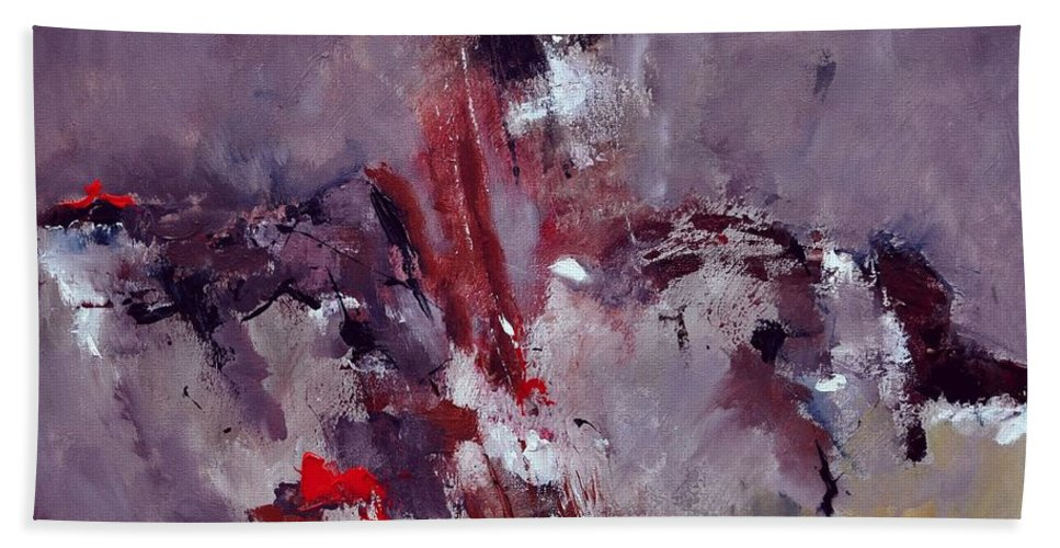 Abstract Bath Sheet featuring the painting Abstract 6621301 by Pol Ledent