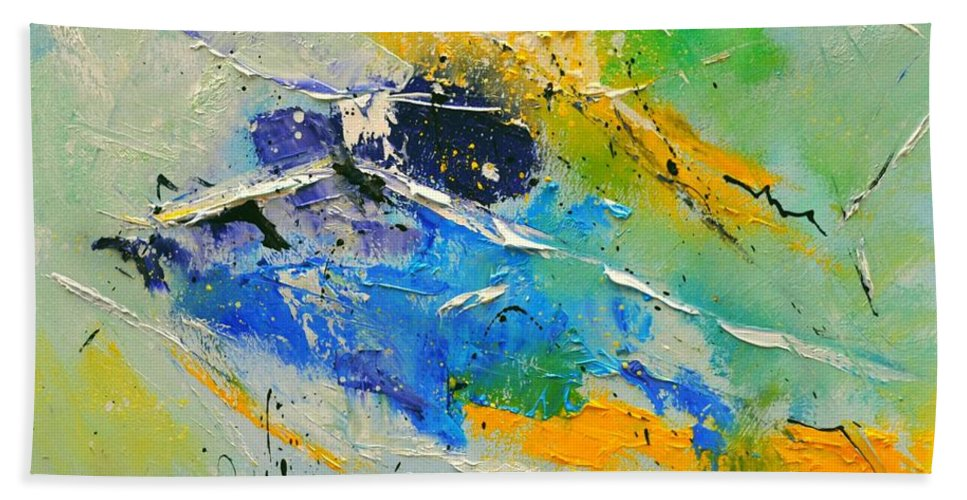 Abstract Hand Towel featuring the painting Abstract 6621803 by Pol Ledent