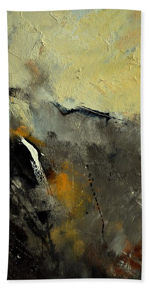 Abstract Hand Towel featuring the painting Abstract 68210191 by Pol Ledent