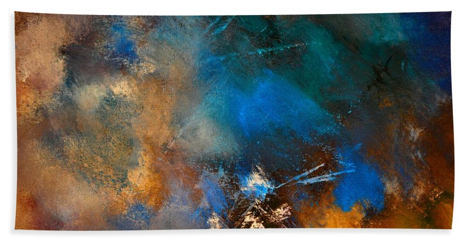 Abstract Hand Towel featuring the painting Abstract 69210151 by Pol Ledent