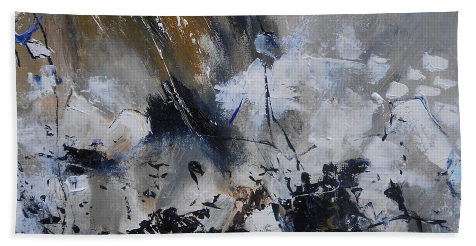 Abstract Hand Towel featuring the painting Abstract 692140 by Pol Ledent