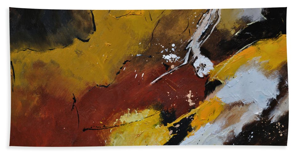 Abstract Bath Sheet featuring the painting Abstract 88119011 by Pol Ledent