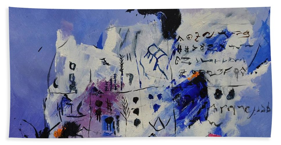 Abstract Hand Towel featuring the painting Abstract 8821501 by Pol Ledent