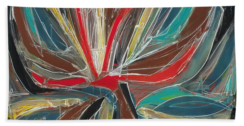 Abstract Hand Towel featuring the painting Abstract Art Sixteen by Lynne Taetzsch