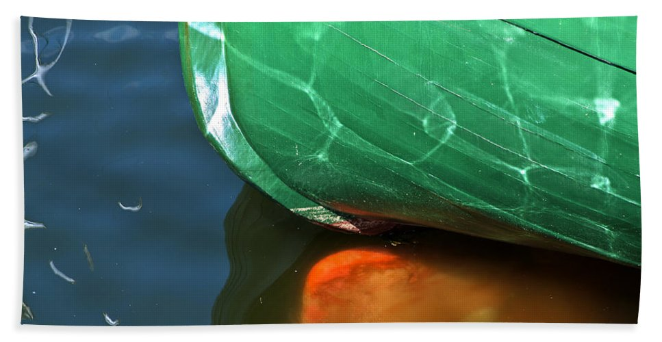 Abstract Boat Stern Bath Sheet featuring the photograph Abstract Boat Stern by Steve Purnell