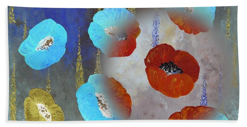 Red Poppies Hand Towel featuring the painting Abstract Colorful Poppies by Georgeta Blanaru