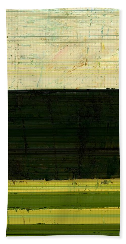 Striped Hand Towel featuring the painting Abstract Landscape - The Highway Series Ll by Michelle Calkins