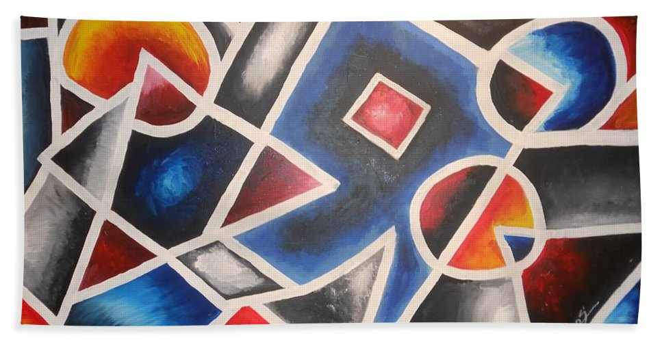 Abstract Hand Towel featuring the painting Abstract by Matthew Odegard