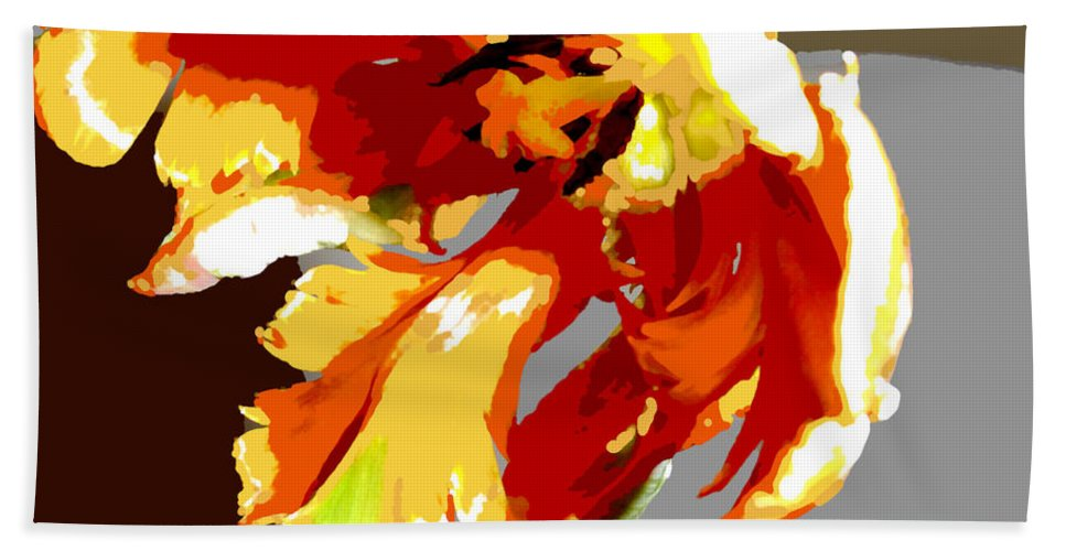 Flower Flowers Tulip Garden Flora Floral Nature Parrot+tulip Tulips Parrot+tulips Abstract Orange Red Yellow Natural Bloom Blooms Blossoms Blossom Bouquet Arrangement Colorful Plant Plants Botanical Botanic Blooming Gardens Gardening Tropical Hand Towel featuring the painting Abstract Parrot Tulip by Elaine Plesser