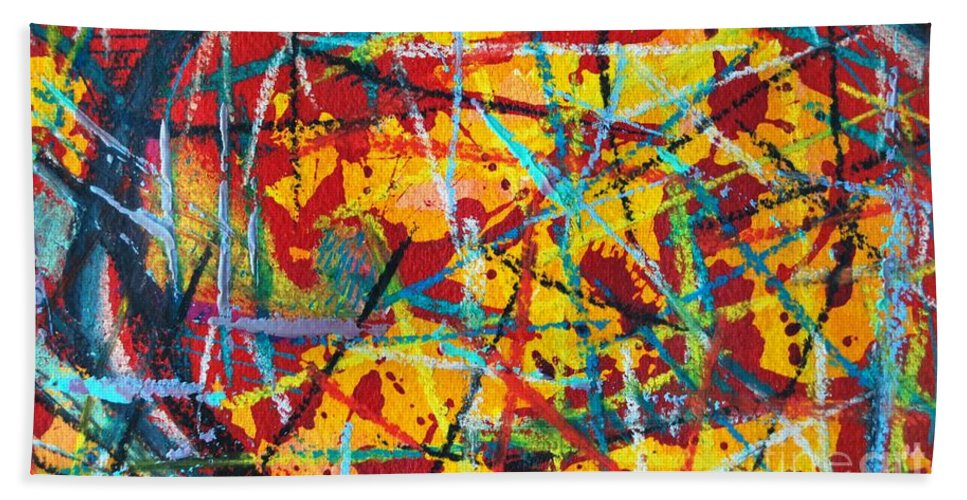 Abstract Bath Towel featuring the painting Abstract Pizza 1 by Ana Maria Edulescu