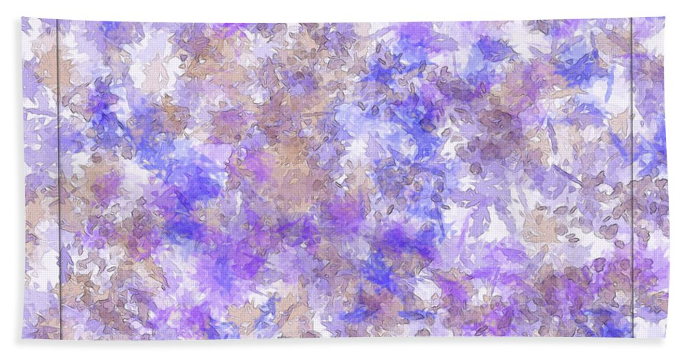 Abstract Hand Towel featuring the digital art Abstract Purple Splatters by Debbie Portwood