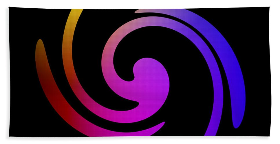 Form Forms Black White Triangle Geometric Abstract Art Minimalism Spiral Digital Painting Color Colorful Bath Sheet featuring the digital art Abstract Spiral Color by Steve K