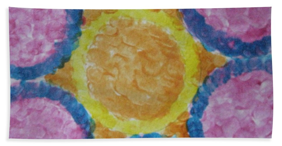 Sun Hand Towel featuring the painting Abstract Sun by Sonali Gangane