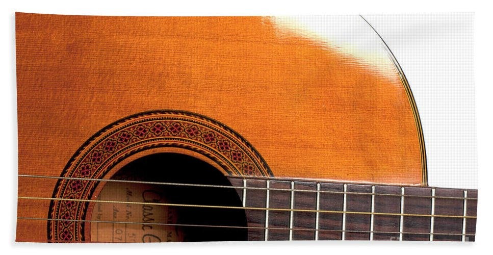 Abstract Bath Sheet featuring the photograph Acoustic Guitar 15 by Alan Look