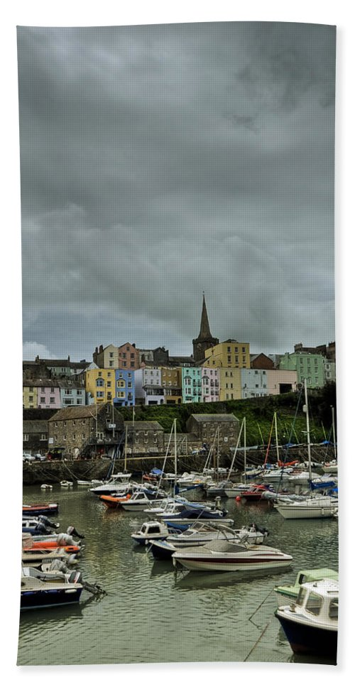 Tenby Harbour Bath Sheet featuring the photograph Across Tenby Harbour by Steve Purnell
