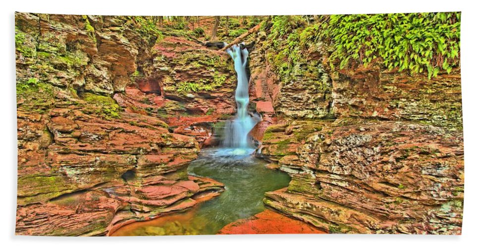 Ricketts Glen Hand Towel featuring the photograph Adams Falls by Adam Jewell