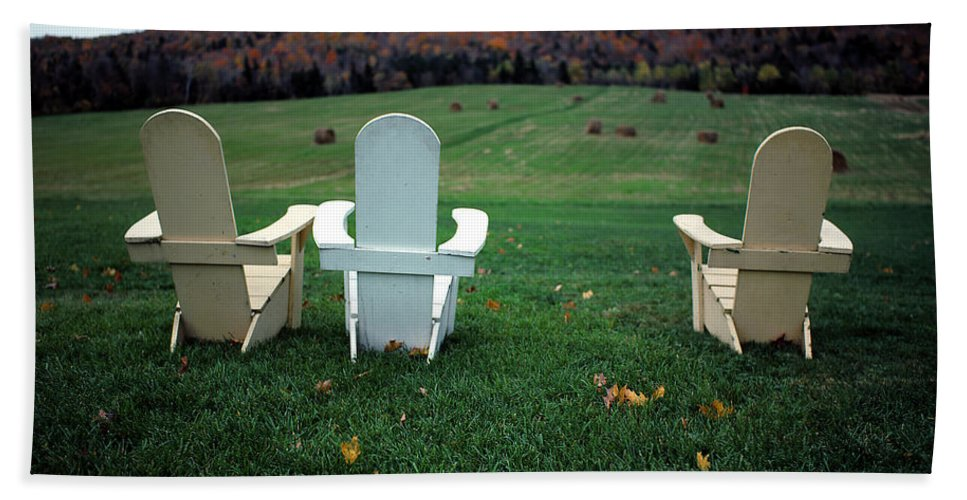 Adirondack Bath Sheet featuring the photograph Adirondack Chairs by Mike Nellums