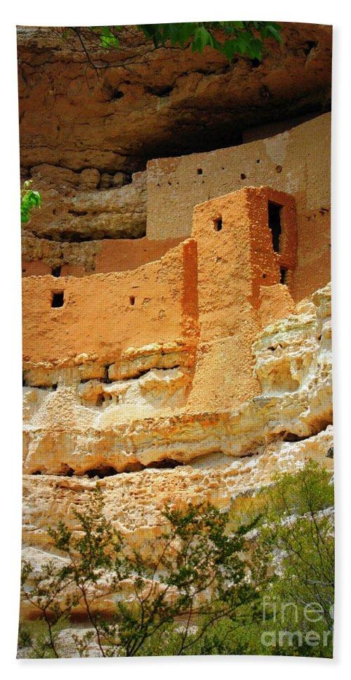 Adobe Cliff Dwelling Bath Sheet featuring the photograph Adobe Cliff Dwelling by Carol Groenen