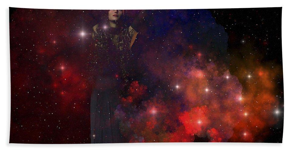 Goddess Bath Sheet featuring the digital art Adora, Goddess Of The Heavens by Corey Ford