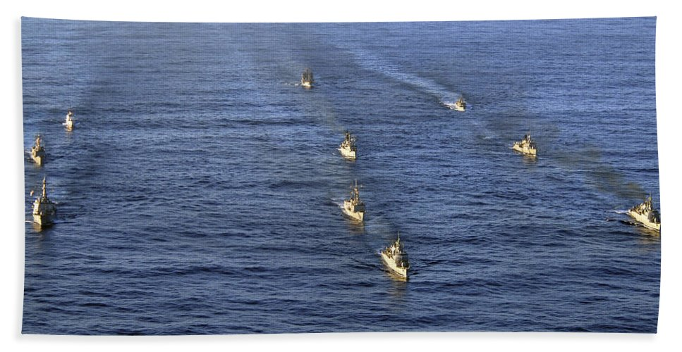 Unitas 52 Hand Towel featuring the photograph Aerial View Of Ships In Formation by Stocktrek Images
