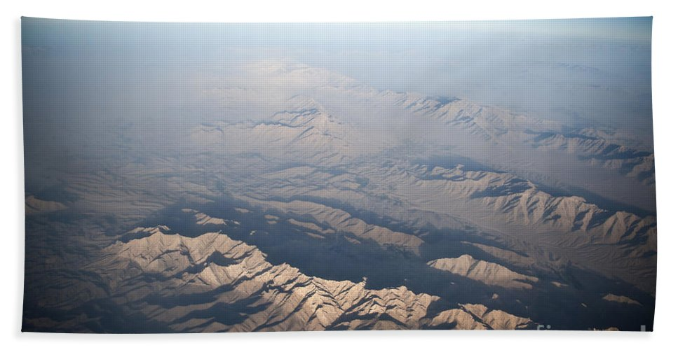 Mountain Range Hand Towel featuring the photograph Aerial View Of The Mountainous by Stocktrek Images
