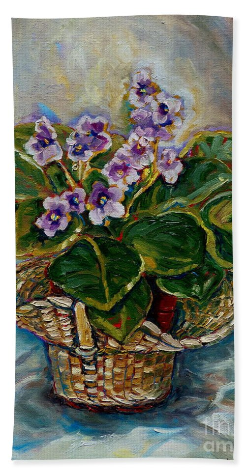 African Violets Bath Sheet featuring the painting African Violets by Carole Spandau