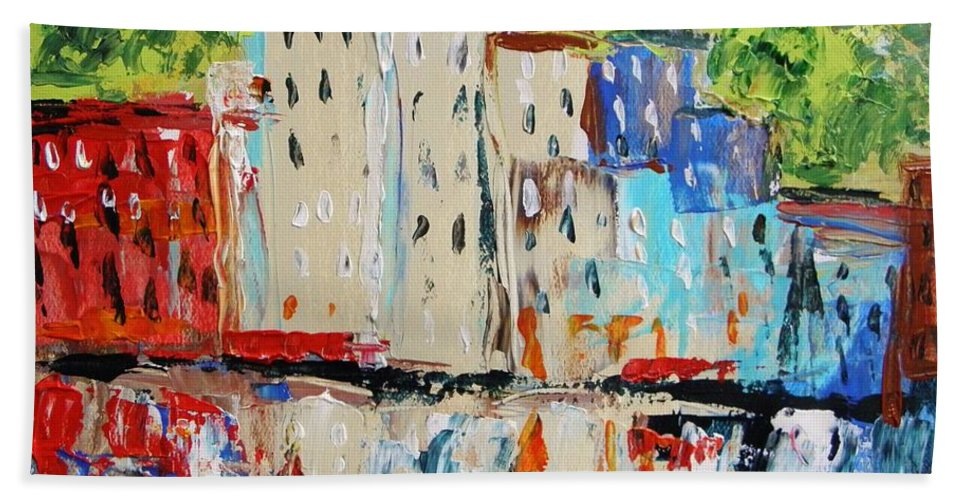 Acrylic Hand Towel featuring the painting After Hours-reflection by John Williams
