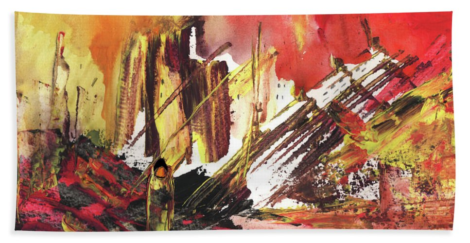 Abstract Bath Sheet featuring the painting After The Earthquake by Miki De Goodaboom
