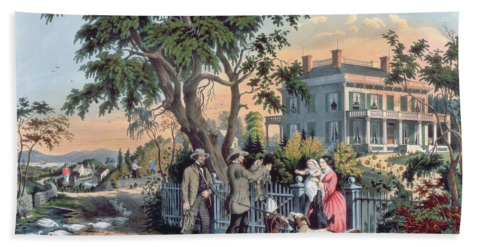 After The Hunt Bath Sheet featuring the painting After The Hunt by Currier and Ives