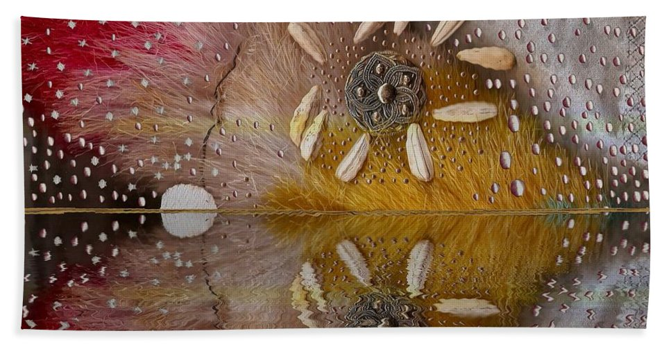 Seascape Bath Sheet featuring the mixed media After The Rain by Pepita Selles