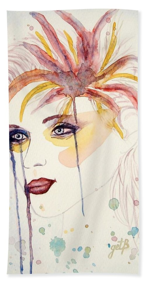 Watercolor Dancer Hand Towel featuring the painting After The Show Watercolor On Paper by Georgeta Blanaru