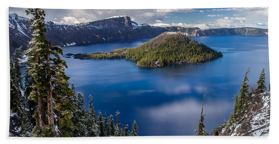 Crater Lake Bath Sheet featuring the photograph Afternoon Clearing At Crater Lake by Greg Nyquist