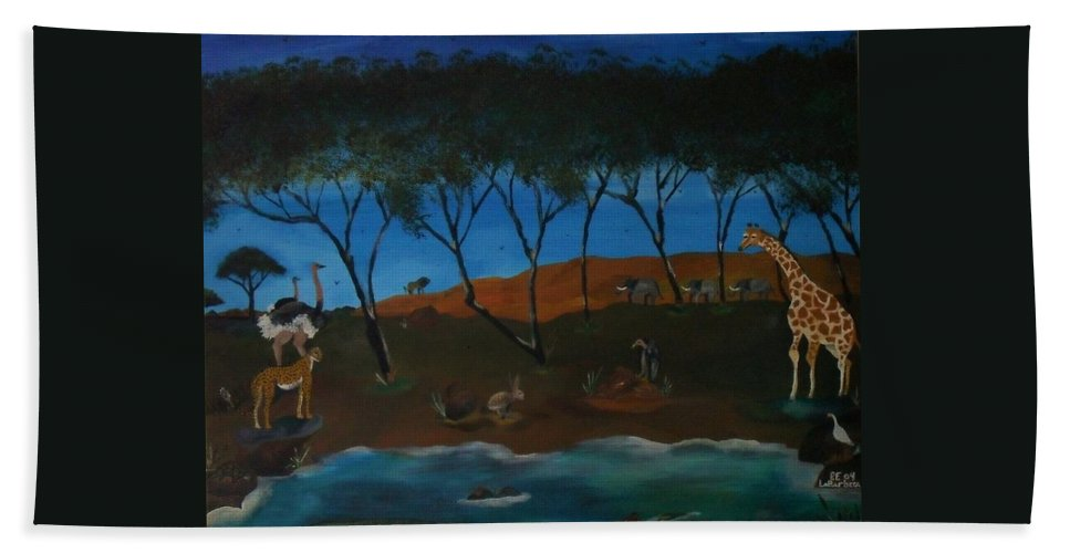 Animals Bath Sheet featuring the painting Afternoon In The Serengeti by Paul F Labarbera