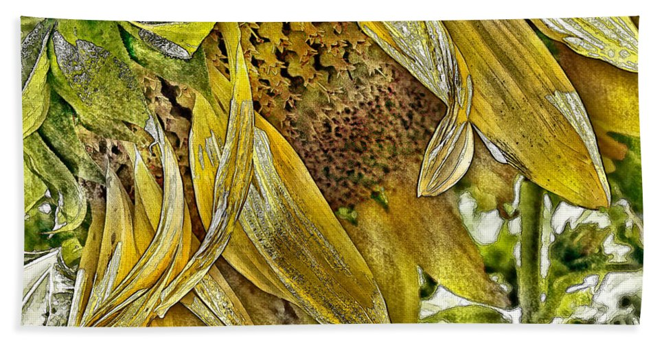 Flower Bath Sheet featuring the photograph Afternoon Sunflower by Linda Clifford