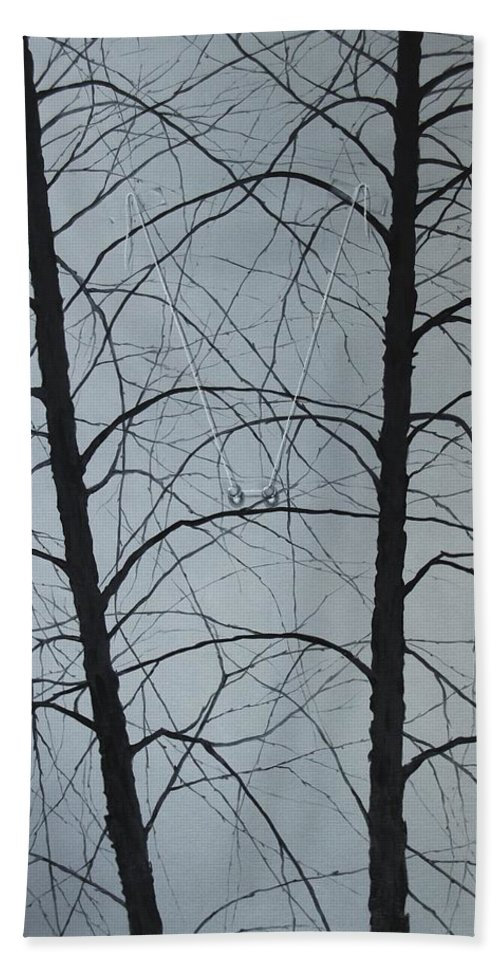 Winter Trees Bath Towel featuring the painting Aging by Roger Calle