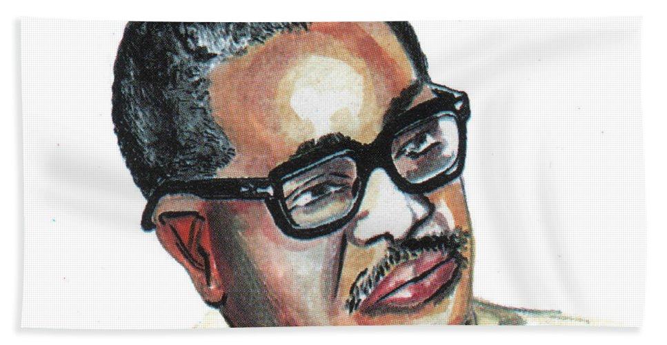 Portraits Bath Sheet featuring the painting Agostinho Neto by Emmanuel Baliyanga