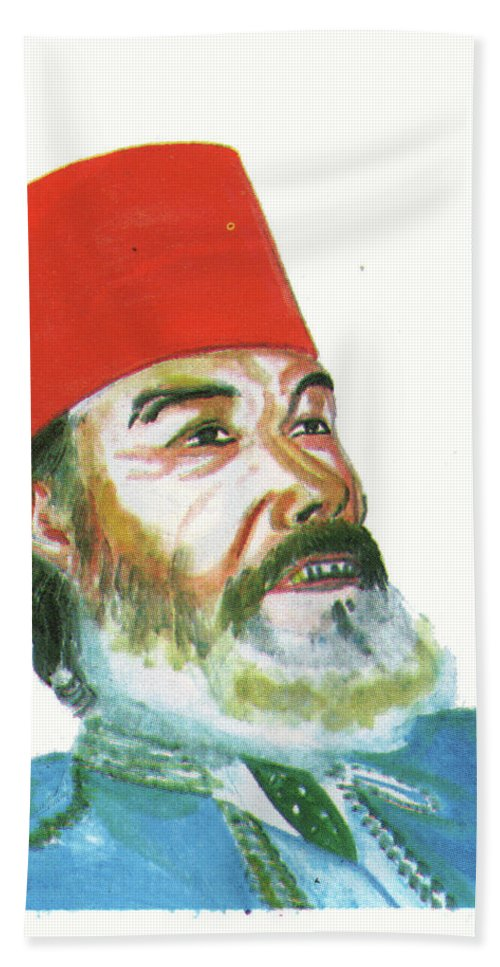 Portraits Bath Sheet featuring the painting Ahmed Messali Hadj by Emmanuel Baliyanga