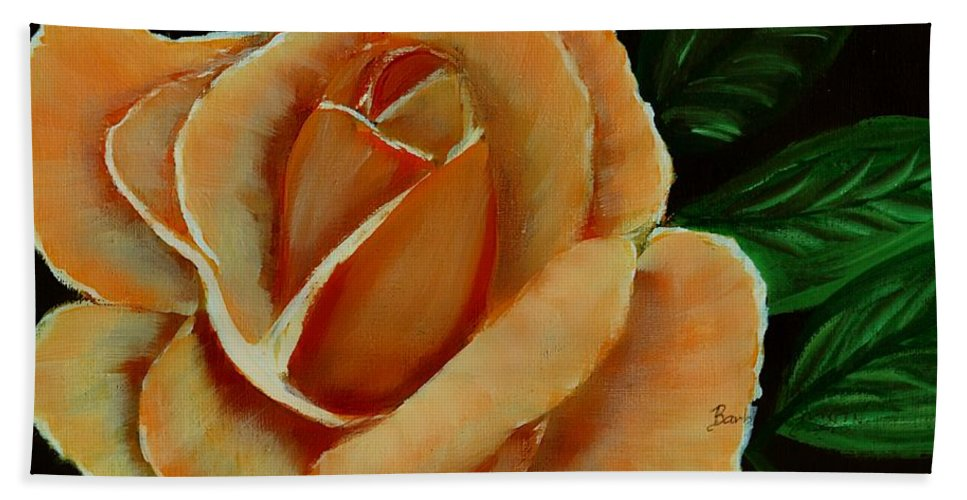 Airbrushed Coral Rose Hand Towel featuring the digital art Airbrushed Coral Rose by Barbara Griffin