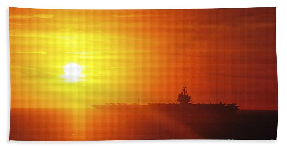 Uss Enterprise Hand Towel featuring the photograph Aircraft Carrier Uss Enterprise by Stocktrek Images
