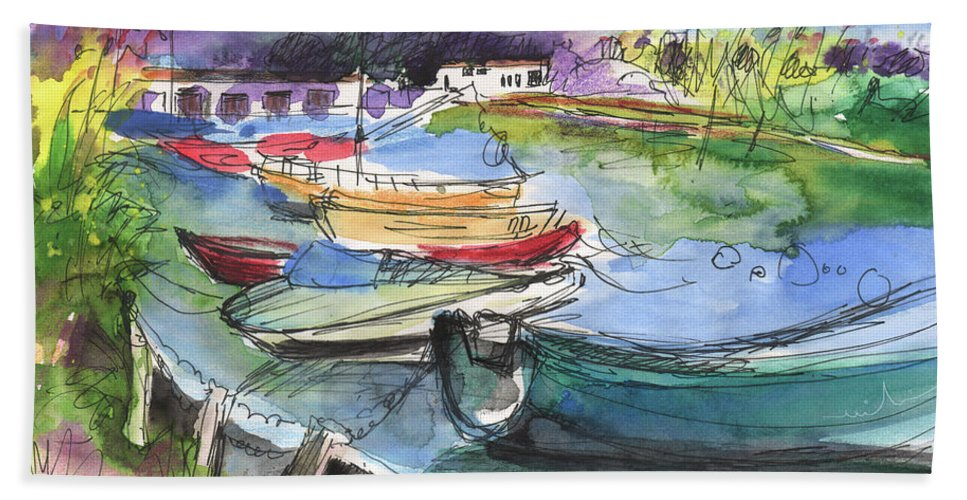 Travel Sketch Bath Sheet featuring the painting Albufeira De Valencia 19 by Miki De Goodaboom