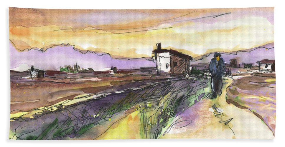 Travel Sketch Bath Sheet featuring the painting Albufeira De Valencia 21 by Miki De Goodaboom
