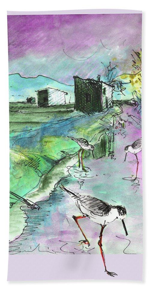 Travel Sketch Bath Sheet featuring the painting Albufera De Valencia 14 by Miki De Goodaboom