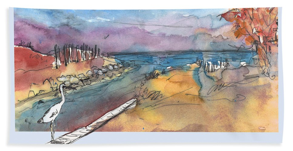 Travel Bath Sheet featuring the painting Albufera De Valencia 15 by Miki De Goodaboom