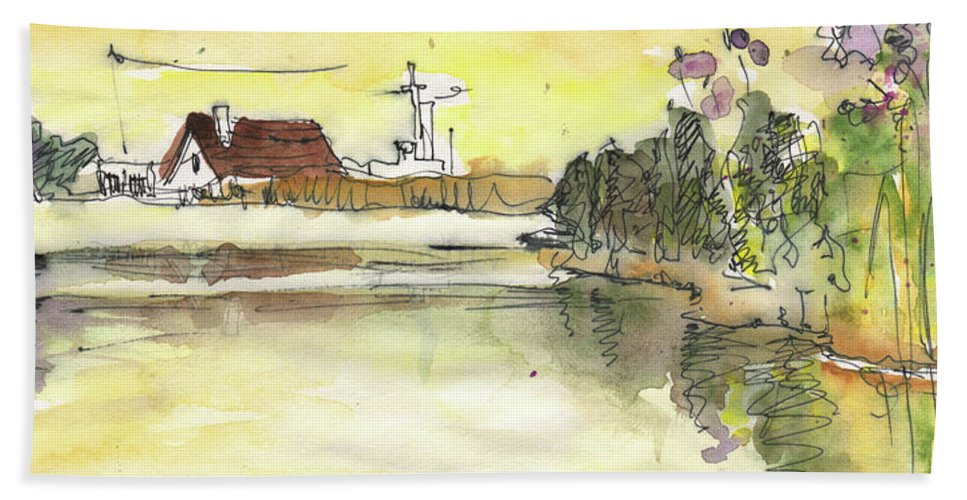 Travel Sketch Bath Sheet featuring the painting Albufera De Valencia 16 by Miki De Goodaboom