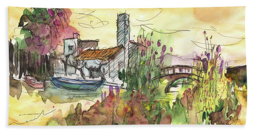 Travel Sketch Bath Sheet featuring the painting Albufera De Valencia 25 by Miki De Goodaboom