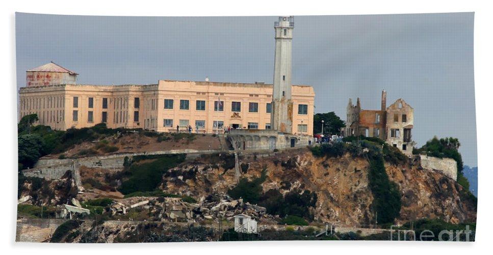 San Francisco Hand Towel featuring the photograph Alcatraz Island Lighthouse - San Francisco California by Tap On Photo